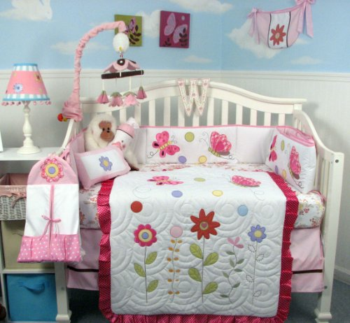 Soho Spring Time Butterfly Baby Crib Nursery Bedding Set 14 Pcs Included Diaper Bag With Changing Pad & Bottle Case front-749279