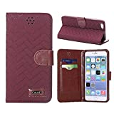 Cocoz® Iphone 6 4.7 Case NEW Retro Wave Pattern Pu Leather Case Card Holder Flip Case Cover Credit Id Case Slim Fit Case Advanced Shock Absorption Protection [ for 4.7 Iphone 6 ] (Deep Red)