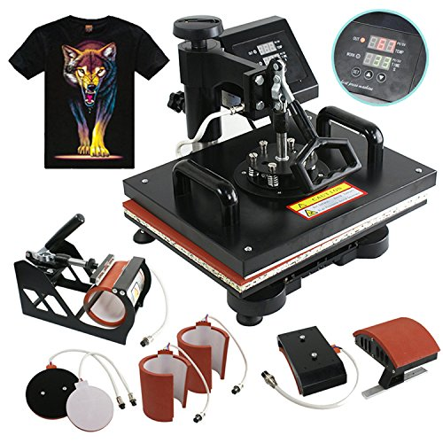 F2C® 6 in 1 Combo Heat Press T-shirt Hat Cap Mug Digital Transfer Sublimation Machine (6 in 1) (Heat Transfer Press Hat compare prices)