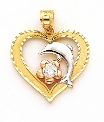 14k Gold Charm Heart with Round Cz and Dolphin