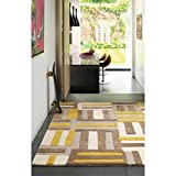 Modern designer rug 100% Wool Rug 120x170cm Maiden Code Yellow Yellow