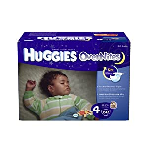 The most absorbent HUGGIES night time diapers, OverNites are designed for sleep, with Double Leak Guard for up to 12 hours of protection, a SnugFit waistband with Double Grip Strips for a secure fit, and a wetness indicator that changes color when it's time for a fresh diaper.
