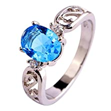 buy Psiroy 925 Sterling Silver Stunning Created Gorgeous Women'S 7Mm*9Mm Oval Cut Cz Blue Topaz Filled Ring