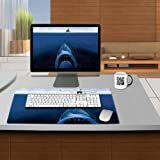Menace Shark Looking For Bait Fishing Table Mats Customized Made to Order Support Ready 24 Inch (610mm) X 14 15/16 Inch (380mm) X 1/8 Inch (4mm) High Quality Eco Friendly Cloth with Neoprene Rubber Luxlady Small Deskmat Desktop Mousepad Laptop Mousepads Comfortable Computer Place Play Mat Cute Gaming Mouse pads