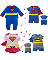 BABY BOY GIRL SUPERMAN BATMAN SUPERGIRL SPIDERMAN BATGIRL BABY GROW FUNKY CUTE FANCY DRESS OUTFIT COSTUME ROMPER SUIT GIFT