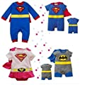SUPERMAN BATMAN SUPERGIRL BABY GROW FUNKY CUTE FANCY DRESS OUTFIT GIFT (6-12 MONTHS, SUPERMAN LONG SLEEVE)