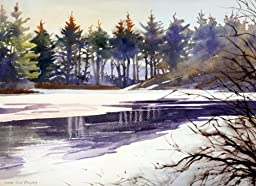 Frozen Over, Giclee Print of Watercolor Winter Landscape, Sunset Picture of a Thawing River in New England, 12 x 18 Inches