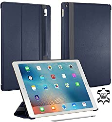 StilGut Couverture, Genuine Leather Case for Apple 12,9'' iPad Pro with Pencil Holder, Stand & Smart-Cover Function, Navy Blue