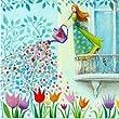 Postkarte 14x14cm ~ Mila Marquis ~ Frau beim Blumen gie�en