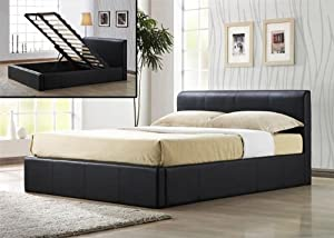 Time Living Frankfurt 4ft Brown Faux Leather Ottoman Storage Bed by Time Living