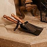 Wrought Iron Manor Fireside Hearth Set Tidy Set Brush and Shovel - L36cm x W 13.5cm x H16cm