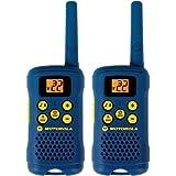 Par de radios de dos vías Motorola MG160A de 6 millas de alcance y 22 canales FRS/GMRS, color azul claro.