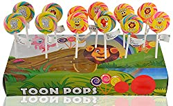 Toonpops 1.5 Inch Dia - Assorted Fruit Flavoured Cartoon Candy Lollipop, 120 g (Pack Of 12 pcs)