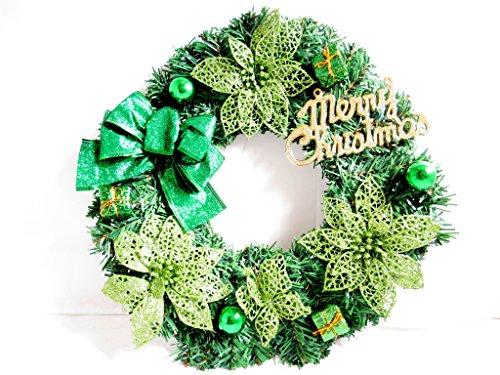 クリスマス リース シック 壁掛け ドアプレート (グリーン)