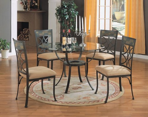 Cheap 5pc Antique Metal Finish Round Dining Table w/Glass Top & Chairs Set (VF_dinset-7687-7688)