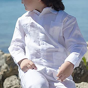 Boy's Long Sleeve Guayabera in white.