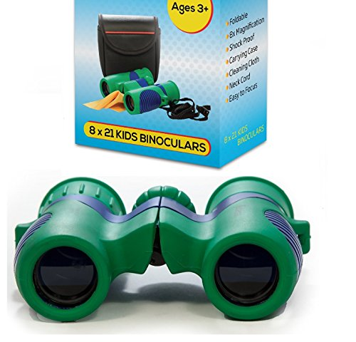 Kidwinz Shock Proof 8x21 Kids Binoculars Set - Bird Watching - Educational Learning - Hunting - Hiking - Presents - Gifts for Children - Sports Games - Outdoor Play - Preschool Spy Toys (USA SELLER) (Sports Games Kids compare prices)