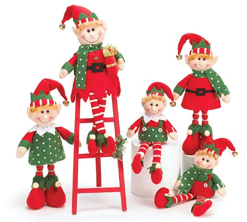 plush christmas elves elf with wood ladder adorable holiday decor - Elf Christmas Decorations