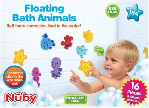 Nuby努比寶寶洗澡玩具 海洋動物墻貼 泡沫墻貼