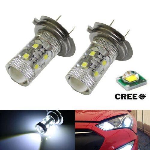 Ijdmtoy Max 50W High Power Cree Q5 Type H7 Led Bulbs For Hyundai Genesie Sonata Veloster Accent On High Beam Daytime Running Lights