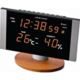 ADESSO (アデッソ) 置き時計LED 温度表示 湿度表示 C-8305OR