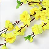 5PCS Peach blossom Simulation Flowers Wedding Bouquet Artificial Flowers Silk flower Decorative Flowers Wreaths Home Decoration (Yellow)