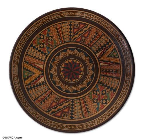 NOVICA Decorative Ceramic Cuzco Plate Earthtone, 'Hitching Post Of The Sun'
