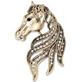 Ijewellery Ladies Swarovski Elements Crystal with Rhinestone Safety-Pin Brooch Gold Plated Bronze Horse Brooch for Women Men Free Gift Box A15