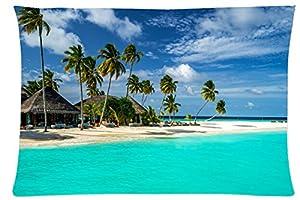 Maldives Tropics Coast Sky Sea Bungalow Palma Nature Style Pillowcase
