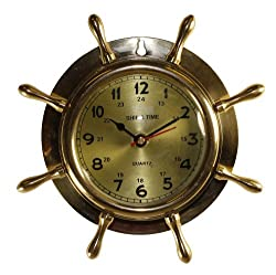8 Brass Ship Wheel Clock: Nautical Boat Decor