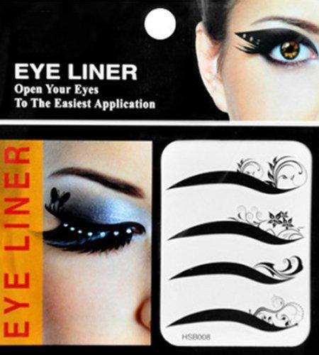 niceeshop(TM) 4 Pairs Fashion Adhesive Curl Flowers Temporary Tattoos Transferable Eyeshadow Eyeliner/Eyes Stickers-Black