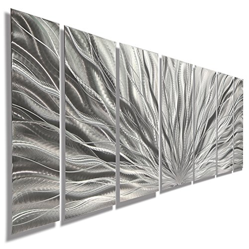 Silver Metal Wall Art - Beautiful Silver Etched Metallic Wall Art - Wall Sculpture, Wall Decor, Home Accent, Panel Art - Abstract, Modern Contemporary Design - Silver Plumage By Jon Allen