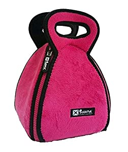FlatBox- The Neoprene Lunch Box that Converts to a Placemat in Fleece Pink