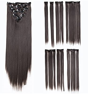 SWACC Women 22 Inches Straight Full Head 7 Separate Pieces Heat Resistance Synthetic Hair Clip in Hair Extensions