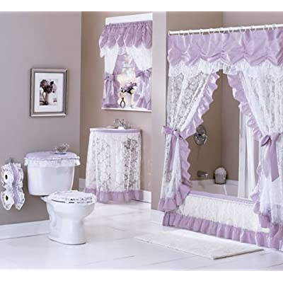 """Amazon.com - Maderia Lace Sink Skirt, 54""""W x 32""""L (BURGUNDY) - Shower Curtains"""
