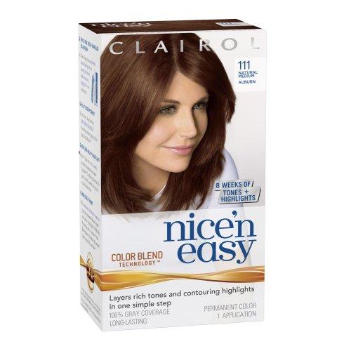Clairol Nice 'n Easy Hair Color 111 Natural Medium Auburn 1 Kit (Pack of 3)