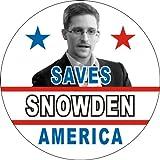 "Edward Snowden - Snowden Saves America - 1 1/2"" Button / Pin"