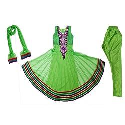 Pintoo Apparels Girls Green Traditional Salwar Set for 14-15 Years