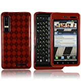 High Gloss Argyle Red Flexible TPU Cover Skin Phone Case for Motorola DROID ....