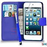 Apple iPod Touch 5 Premium Leather Wallet Bleu flip écran Housse Etui + Big tactile Stylet + Protecteur & Chiffon PAR SHUKAN, (Bleu)