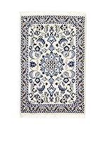 L'Eden del Tappeto Alfombra Nain K Beige / Azul 90  x  60 cm