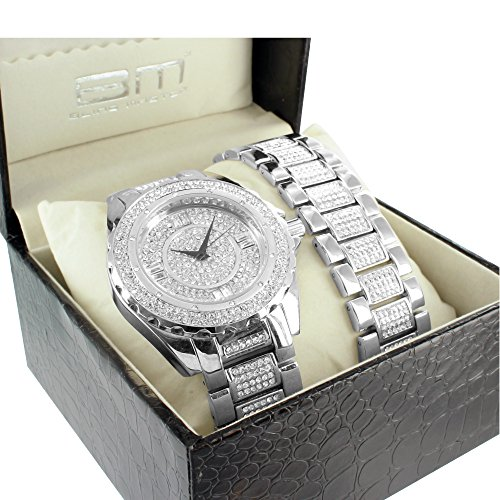 Iced Out Mens Analog Metal Band BM Lab Diamond Bracelet & Watch Set