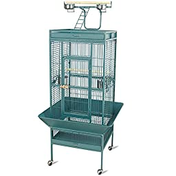 Yaheetech Pet Supply Wrought Iron Parrot Bird Cage Playtop Cockatiel Cockatoo Cage (Green)