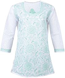 ALMAS Lucknow Chikan Women's Cotton Regular Fit Kurti (White and Light Green)