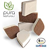 Pura Naturals Stink Free Cleaning Sponges Inhibit Bacteria. No need to sanitize in Microwave or Dishwasher. Stay Fresh NO ODOR Guarantee! Eco Kitchen / Household / Dish Sponges w/Walnut Scrubbers. 40x more durable. (Beige)
