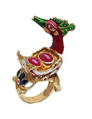 22.80 Grams Red Synthetic Stone & Ruby Gold Plated .925 Sterling Silver Bird Shape Green, Red, Blue, White & Yellow...