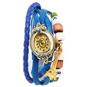 Yesurprise Montre quartz Vintage Avec pendentif La tour Effel Knitted Bracelet en cuir Classique Or 6 couleurs -Bleu