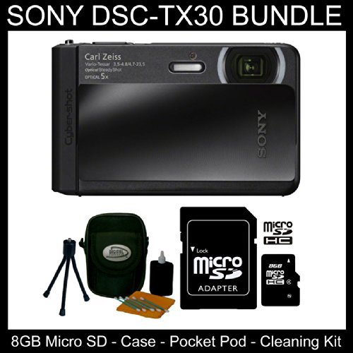 Sony Dsc-Tx30/B 18 Mp Digital Camera With 5X Optical Image Stabilized Zoom And 3.3-Inch Oled (Black) - Camera Case, Pocket Pod, Cleaning Kit & 8Gb Microsd Card & Microsd Adapter (Waterproof, Dust-Proof, Freeze-Proof & Shock-Proof)- Bundle