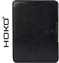 Kindle Paperwhite Case, HOKO Black Slim Leather Flip Case Cover with magnetic closure for Kindle Paperwhite (Auto wake and sleep)