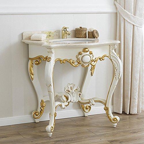 Consolle lavabo stile Luigi Filippo Decapé avorio particolari foglia oro marmo crema